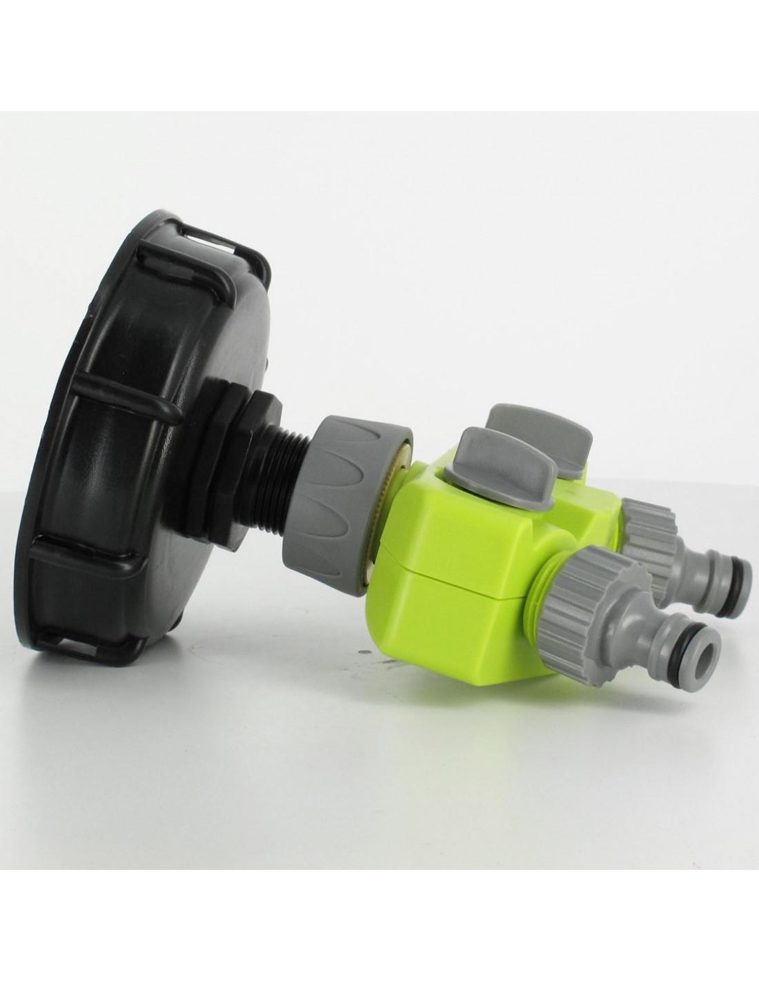 Raccord s100x8 cuve eau 2 robinets avec nez type gardena - Raccord cuve 1000 l ...
