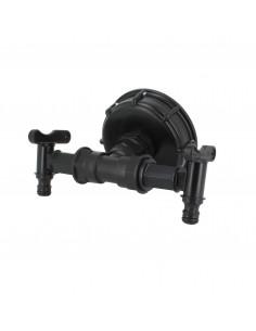 Raccord S100X8 cuve eau - 2 robinets avec nez (type Gardena)