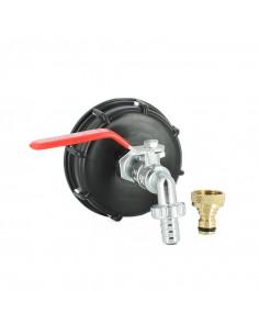 Raccord S100X8 pour cuve eau 1000 litres avec robinet laiton chromé 15 mm et nez de robinet 20x27 mm en laiton