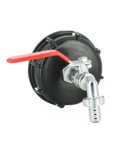 Raccord S100X8 pour cuve eau 1000 litres avec robinet laiton chromé 15 mm
